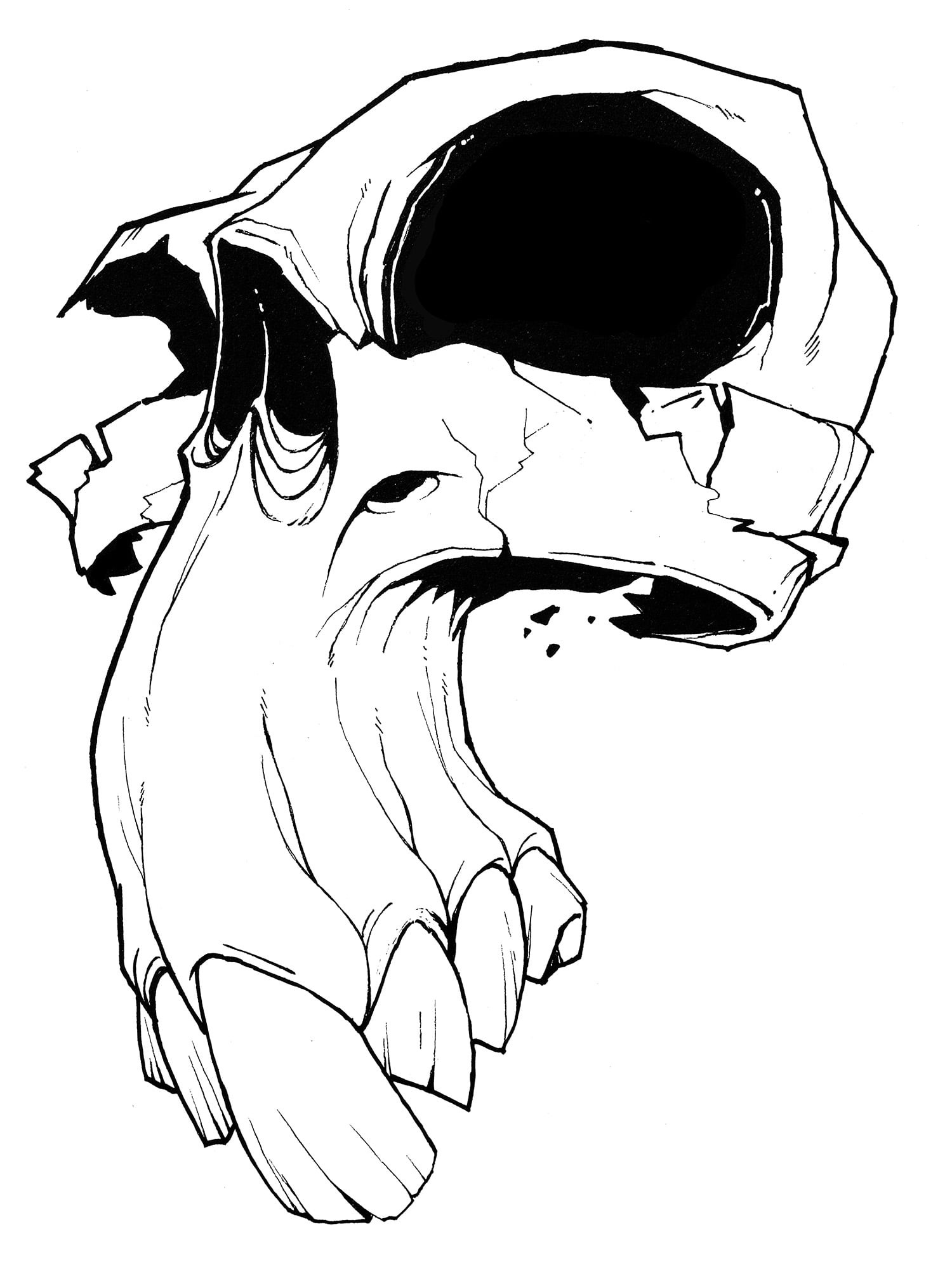 Funny strange monster skull