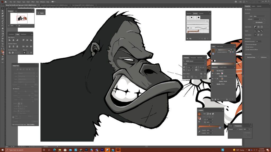 Gorilla Character for Muay Thai